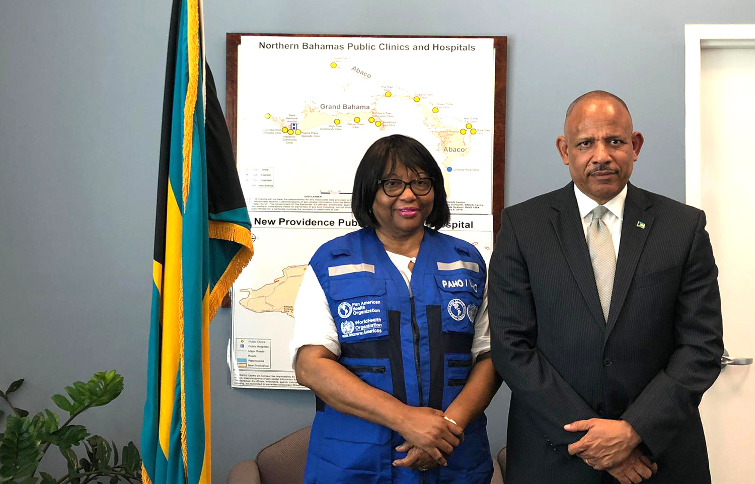 Dr. The Hon. Duane E.L Sands, Minister of Health of the Bahamas meets Dr. Carissa F. Etienne